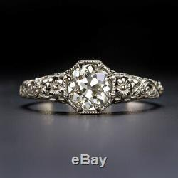 0.90ct OLD MINE CUT DIAMOND VINTAGE ENGAGEMENT RING WHITE GOLD SOLITAIRE ANTIQUE