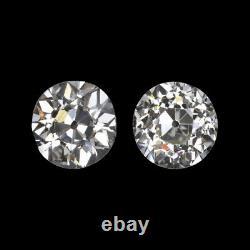 0.96ct I VS1-SI1 OLD EUROPEAN CUT DIAMOND STUD EARRINGS PAIR VINTAGE ANTIQUE 1ct