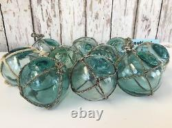 (10) x 2.5 Japanese Glass Fishing Floats With Netting Authentic Old Vintage