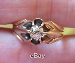 10k Antique Vintage Art Deco Old Mine Cut Diamond Belcher Set Engagement Ring