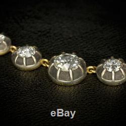 13.09ct VINTAGE OLD EUROPEAN CUT DIAMOND MINE RIVIERA NECKLACE 18K GOLD ANTIQUE