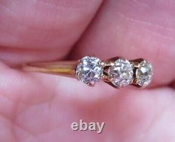14k Antique Vintage Art Deco 3 Old Mine Cut Vs Natural Diamond Engagement Ring
