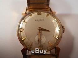 14k Gold Benrus Vintage WATCH Mens Works Old School Wind Up Swiss 17 Jewel