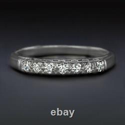 1930s G-H VS OLD EUROPEAN CUT DIAMOND WEDDING BAND PLATINUM RING VINTAGE ANTIQUE