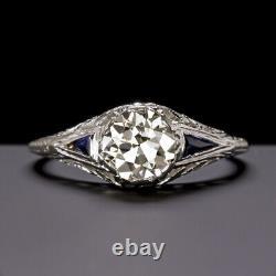 1.13c OLD EUROPEAN IDEAL CUT VS DIAMOND ENGAGEMENT RING SAPPHIRE ANTIQUE VINTAGE