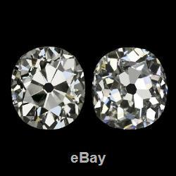 1.32c I VS OLD MINE CUT DIAMOND STUD EARRINGS ANTIQUE CUSHION VINTAGE PAIR 1.5ct
