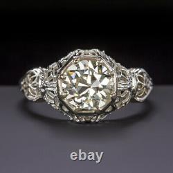 1.38ct OLD EUROPEAN CUT DIAMOND 18k ENGAGEMENT RING ART DECO VINTAGE ANTIQUE 1.5