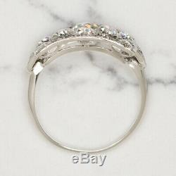 1.3c G VS OLD MINE CUT DIAMOND PLATINUM EDWARDIAN RING ART DECO VINTAGE ANTIQUE