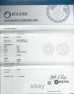 1.44c CERTIFIED I VS2 OLD EUROPEAN CUT DIAMOND VINTAGE ANTIQUE NATURAL 1.5 CARAT