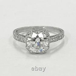 1.50 ct Vintage Antique Old European Cut Diamond Engagement Ring In Platinum