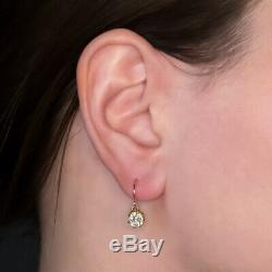 1.5 Carat Old Mine Cut Vs Diamond Earrings Vintage Drop Dangle Antique Rose Gold