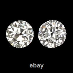 1.5ct CERTIFIED G-H SI VINTAGE DIAMOND STUD EARRINGS OLD EUROPEAN CUT ANTIQUE EU