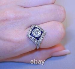 1.67 Art Deco Old Mine Cut Center Diamond Sapphires Diamonds Platinum Ring