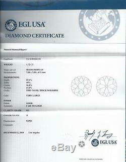 1.72ct CERTIFIED OLD EUROPEAN CUT DIAMOND WHITE CLEAN ANTIQUE VINTAGE 1.75 CARAT