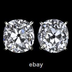 1.74ct G SI1-SI2 OLD MINE CUT DIAMOND STUD EARRINGS ANTIQUE PAIR VINTAGE CUSHION