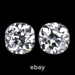 1.81ct G-H SI1-SI2 IDEAL CUT OLD MINE DIAMOND STUD EARRINGS ANTIQUE VINTAGE PAIR