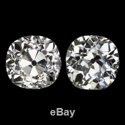 1.90ct OLD MINE CUT DIAMOND STUD EARRINGS VINTAGE 2 CARAT PAIR ANTIQUE NATURAL