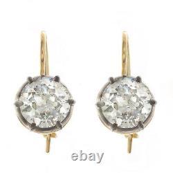 2.00ct ttw Old European Cut Antique Diamond Earrings