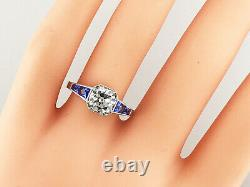 2.10 ct Vintage Antique Old European Cut Diamond Engagement Ring In Platinum