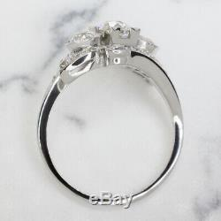 2.12ct VINTAGE OLD EUROPEAN CUT DIAMOND 3 STONE BYPASS COCKTAIL RING 2ct ANTIQUE