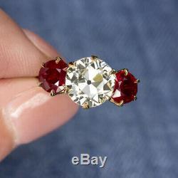 2.15ct VS1 VINTAGE DIAMOND 2ct RUBY 18K ENGAGEMENT RING OLD EUROPEAN CUT ANTIQUE