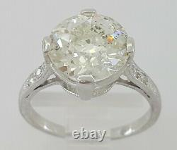 2.85 ct Antique Art Deco Platinum Old European Cut Diamond Engagement Ring GIA