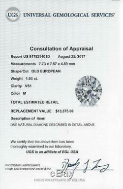2 CARAT VINTAGE OLD EUROPEAN DIAMOND VS1 CERTIFIED ANTIQUE LOOSE ENGAGEMENT 2ct