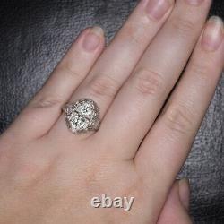 2 Carat Vintage Old European Cut Diamond Platinum Double Ring Filigree Antique