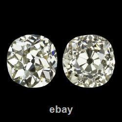 3.31ct ANTIQUE OLD MINE CUT DIAMOND STUD EARRINGS VINTAGE PAIR 3.5 CARAT NATURAL