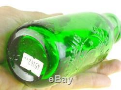 45742 Old Vintage Antique Glass Bottle Codd Patent Blue Green Goffes Birmingham