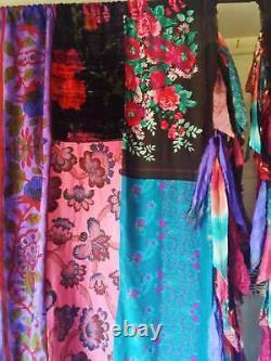 4PC(2Pair) Indian Old Sari Patchwork Drape Window Decor Multi Silk Saree Curtain