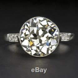 4 Carat Old European Cut K Vs Diamond Engagement Ring Platinum Vintage Antique
