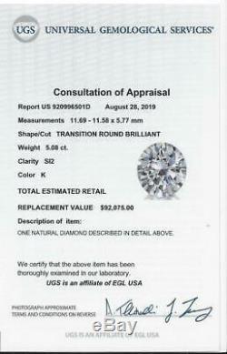 5.08ct 11.6mm CERTIFIED OLD EUROPEAN CUT DIAMOND VINTAGE ANTIQUE 5 CARAT K SI2
