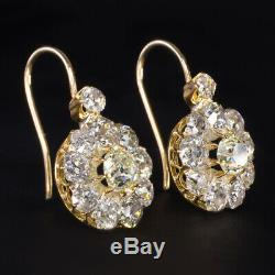 5.5 Carat Old Mine Cut Diamond Cluster Earrings Antique Drop Dangle Vintage Halo