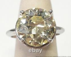 6.80ct Fine Old Euro Diamond Platinum Ring Ladies Antique Ultra Clean Solitaire