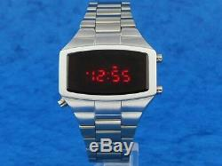 70s 1970s Old Vintage Style LED LCD DIGITAL Rare Retro Mens Watch 12 & 24 hour W