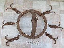 ANTIQUE 19th CENTURY HAND FORGED WROUGHT IRON HOOKS HANGER Old Fireplace Vintage
