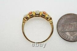 ANTIQUE ENGLISH 18K GOLD OLD CUT DIAMOND CORAL & PEARL 5 STONE RING c1890