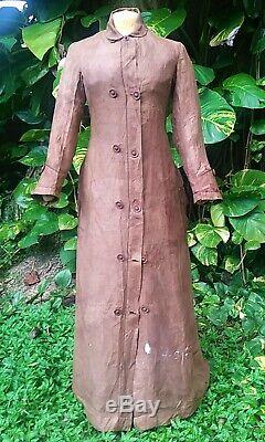 ANTIQUE HIGH VICTORIAN BUSTLE TRAVELING DRESS c. 1877 OLD WEST ERA