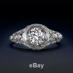 ANTIQUE VS1 DIAMOND 18K ENGAGEMENT RING OLD EUROPEAN CUT ART DECO VINTAGE 1920s