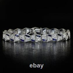 ART DECO 4ct G-H VS OLD EURO DIAMOND PLATINUM ANTIQUE SAPPHIRE BRACELET VINTAGE
