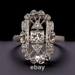 ART DECO DIAMOND RING 18k OLD EUROPEAN CUT VINTAGE ANTIQUE COCKTAIL WHITE GOLD