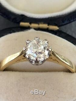 Amazing 0.70-0.75 Old Cut Diamond Solitaire Ring In 18ct Gold Antique Vintage