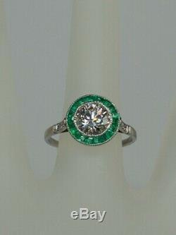 Antique $12,000 2.50ct Colombian Emerald VS2 H Old Euro Diamond Platinum Ring