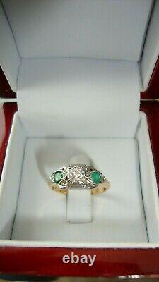 Antique 14k 18k Solid Gold 0.30 Ct Si1 Old Cut Diamond Green Emerald Ring 5.75
