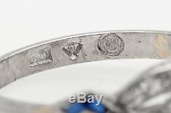 Antique 1920 $10,000 2.25ct Old Cut Diamond Blue Sapphire Platinum Filigree Ring