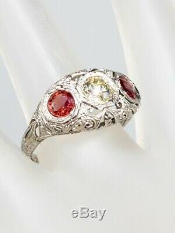Antique 1920 $5000 1.60ct Old Cut Diamond Orange Sapphire Platinum Filigree Ring