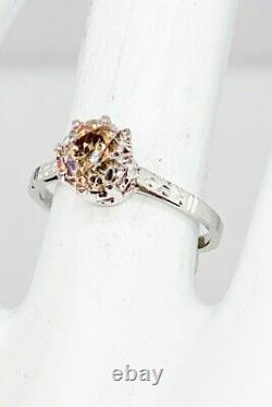 Antique 1920s $10K 1.89ct Old Euro Natural Champagne Diamond 18k White Gold Ring