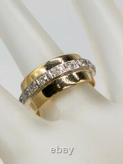 Antique 1920s 10mm 18k Yellow Gold Platinum. 75ct Old Euro Diamond Band Ring 8g