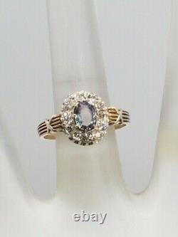 Antique 1920s $5K 1.50ct Natural Alexandrite Old Euro VS Diamond 14k Gold Ring